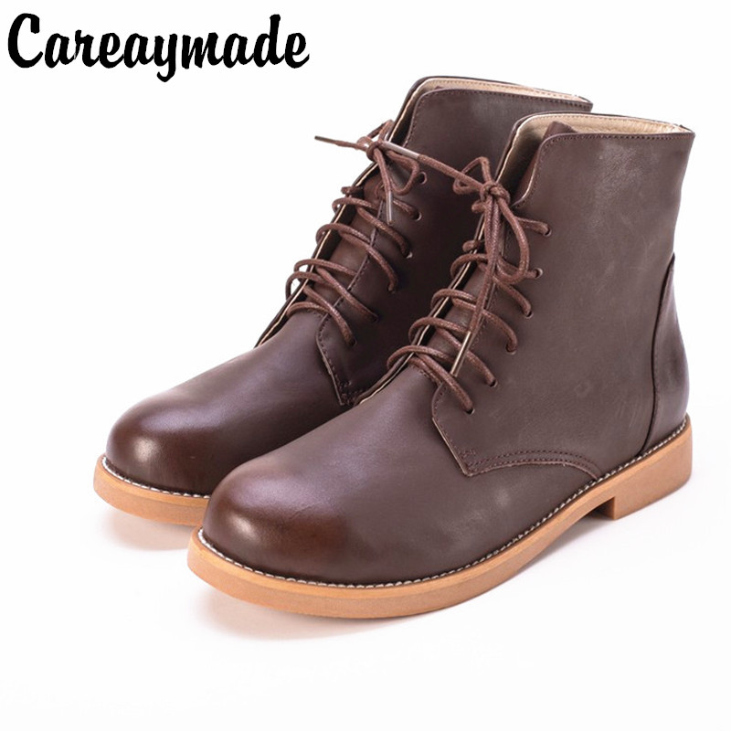 Autumn and winter female boots 2017 New England simple classic Top layer Genuine leather short tube thick with Martin boots