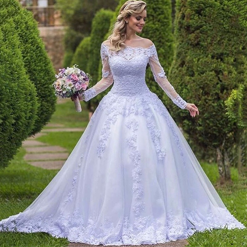 Xh 76 Romantic Purple Tulle Long Sleeves Ball Gown Wedding