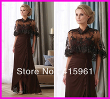 Brown High Neck Beaded Lace Mother of the Bride Dresses Gowns With Jacket Chiffon M1258