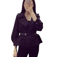 2016 Women Autumn Bomber Jacket Women Fashion Black Khaki Women Slim Coat Jacket With Belt Long