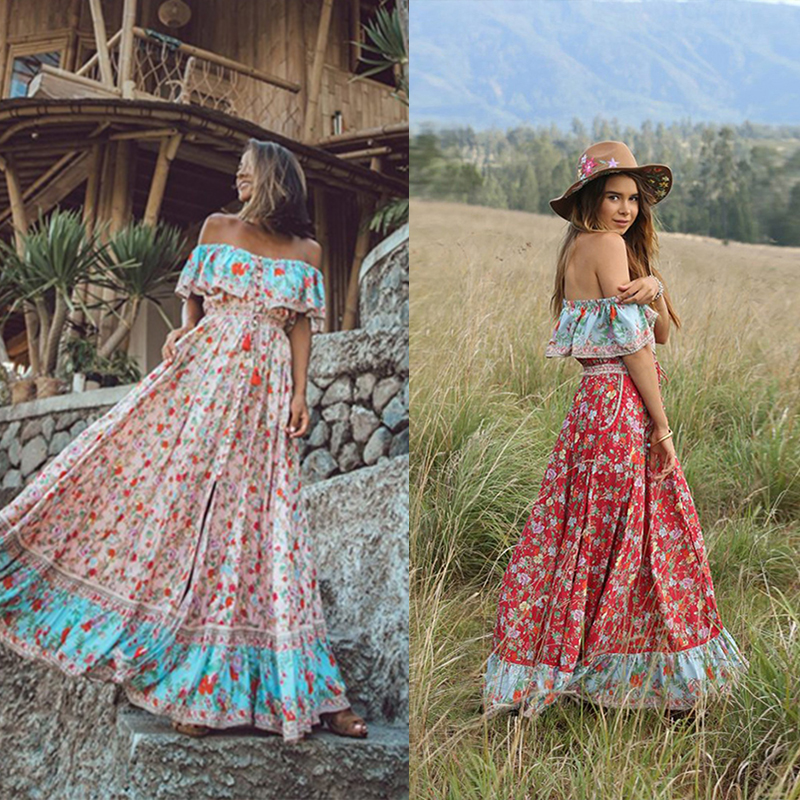 Women Elegant Splice Ruffle Sleeve Floral Print Pleated Dress Casual Summer Boho Beach Vacation Party Maxi Dresses Vestido vacation