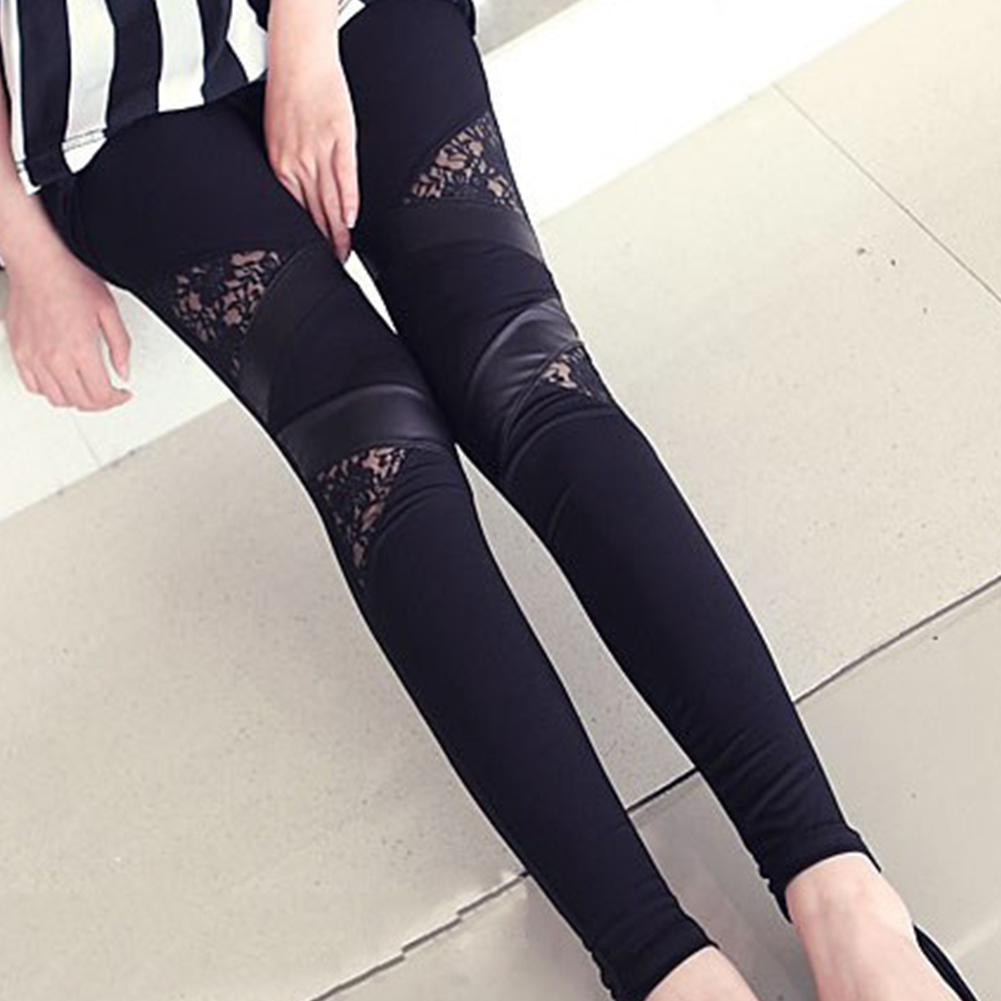 2016 Hot Charming Warm Cheap Lace Leggings Skinny Stretch Pants For Autumn Winter Triangular Lace PU Leather Leggings