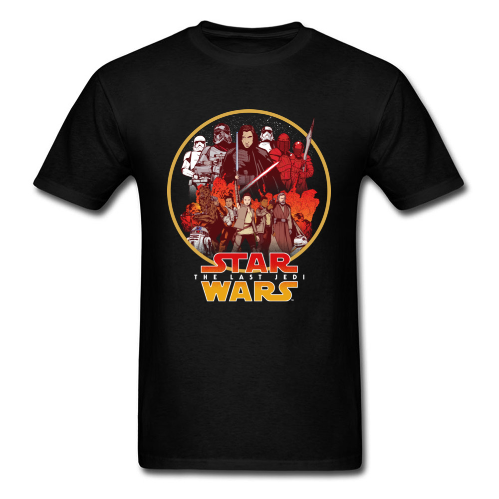 Vintage Star Wars T Shirt For Man Black T-shirt Cotton Top Tshirt The Last Jedi Character Circle Clothes Printed Tops Tees