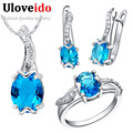 Uloveido Blue Crystal Jewelry Set for Women Silver Wedding Necklace Ring Earrings Set Bridal Jewelry Sets Gift Wholesale T231
