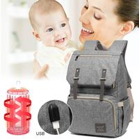 Diaper Bag USB Baby Nappy Bag Mummy Daddy Backpack Large Capacity Waterproof Casual Women Laptop Bags Luxury Handbag Kid Care D2