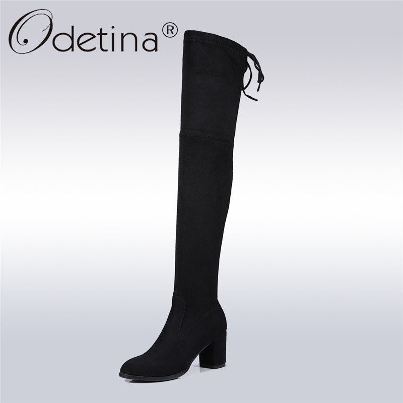 Odetina 2017 Fashion Women Faux Suede Stretch Slim Thigh High Boots Square High Heels Over The Knee Boots Lace Up Big Size 34-43 nayiduyun new fashion thigh high boots women faux suede point toe over knee boots stretchy slim leg high heels pumps plus size