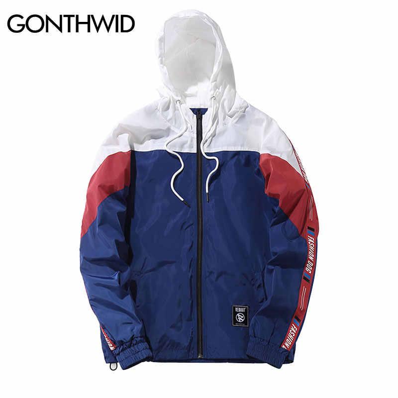 cfd3ebd099a GONTHWID Color Block Patchwork Windbreaker Hooded Jackets Men Hip Hop Full  Zip Up Pullover Tracksuit Jacket