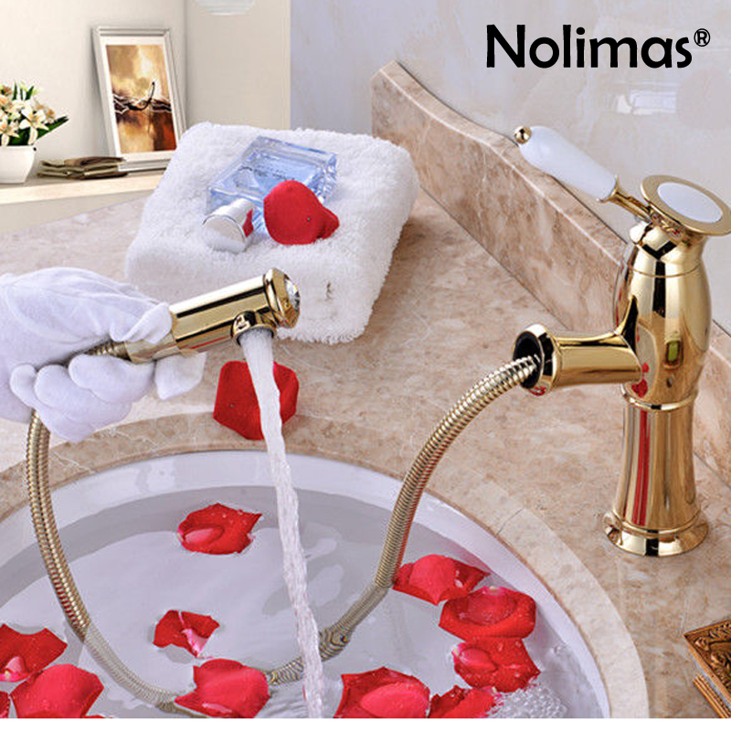 Pull Out Bathroom Toilet Basin Faucet Desk Mounted Gold Silver Brass Golden Brass Single Handle Hot And Cold Water Washing Tap rastar 1 27 hummer h2 черный 28500