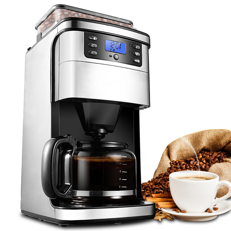 HIMOSKWA 3 In 1 American Coffee Machine Automatic Coffee Grinder Steam Stainless Steel 24 Hours Appointment 12 Cup
