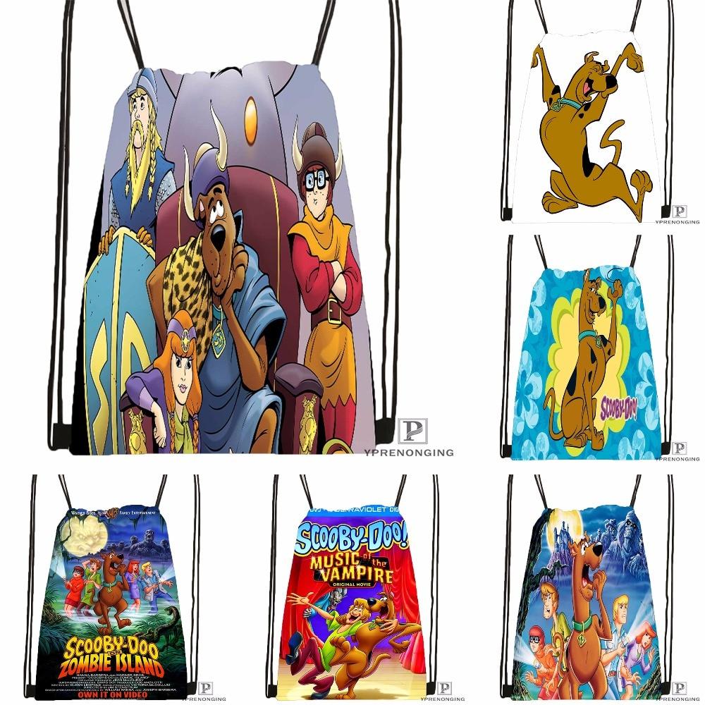 Custom Scooby Doo Team Up Drawstring Backpack Bag Cute Daypack Kids Satchel (Black Back) 31x40cm#180531-04-51