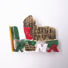 купить Hand Painted Italy Rome Arena Colosseo  3D Resin Fridge Magnet Sticker Country Tourism Souvenir Collectibles Decor Note RoundB21 дешево