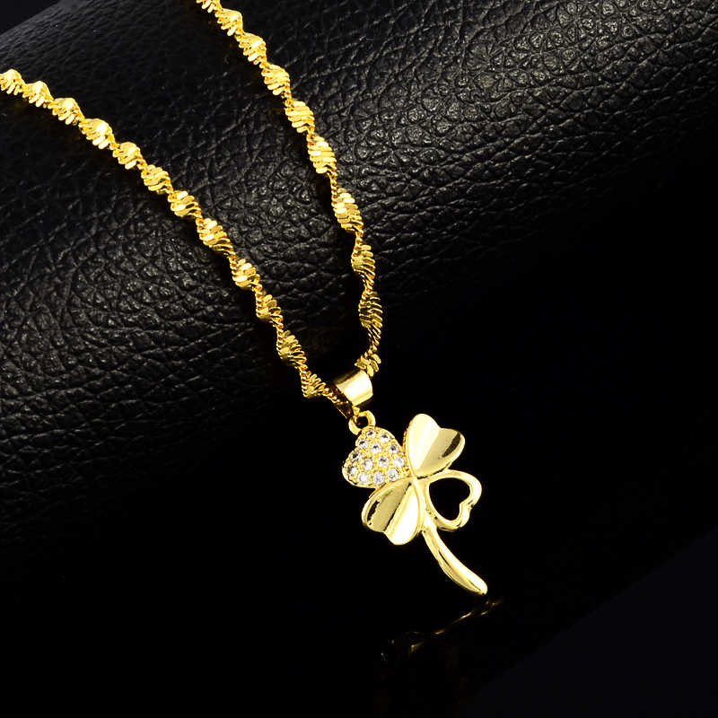 Water Wave Chains Leafs charm pendant necklaces for women Men 24K yellow  necklaces  wedding jewelry