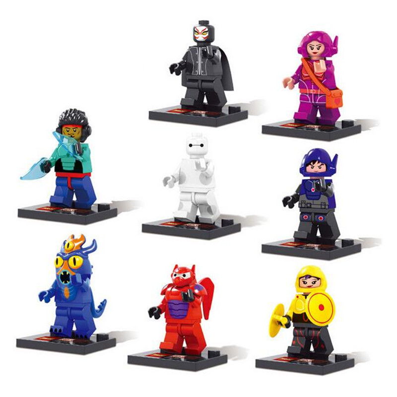 8pcs/set <font><b>Big</b></font> <font><b>Hero</b></font> <font><b>6</b></font> Minifigures <font><b>Baymax</b></font> <font><b>Assemble</b></font> <font><b>Action</b></font> Figure Toys Kids Christmas Gift Wholesale