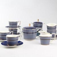 Посуда Чай чашка набор костяного фарфора чашка и блюдце голубой цвет свадебный подарок Кофе чашка устанавливает пакет 15