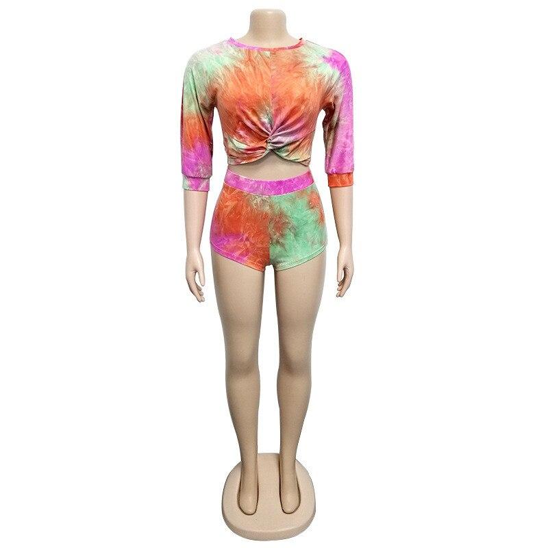 Echoine Women Two Piece Set Sexy Crop Tops O-Neck Bow Knot Tie-Dye Print Short Sleeve Sheath Pants Casual Streetwear Sport Suits