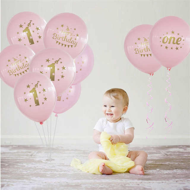 10pcs Lot Pink 1st Birthday Balloon One 1 Year Old First Happy Party Decoration