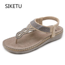 bf8b030d4ee8f SIKETU New Summer Shoes Women Bohemia Diamond Comfortable Sandals Crystal  Back Strap Design Female Flip Flop