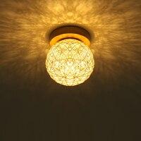 Indoor Wood Led Ceiling Lamp Ball Red/White/Blue Globe Led Surface Mount Ceiling LightsLamp Fixture E27 Edison Bulb 110V/220V