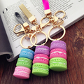 Better 1 pc key chains Macaron Keyring Cake Keychain Metal Ring Keyfob For Xmas Couple Gift 100% High Quality