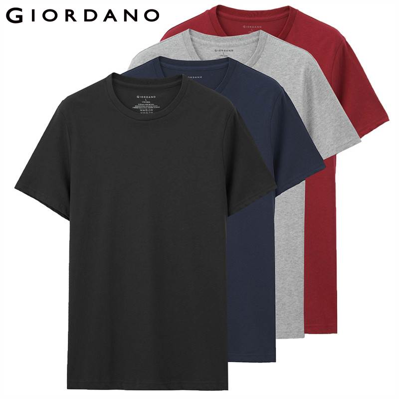best sneakers 21c5f 9a84b US $31.02 34% OFF|Giordano Men T shirts Classic Solid Undershirt Basic  Tshirts Male Short Sleeve Crewneck Tops Uomo Camisetas(4 pack)-in T-Shirts  from ...