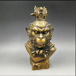 China Hand Carved Bronze Folk Sun Wu Kong Monkey King Head Bust Sculpture Statue