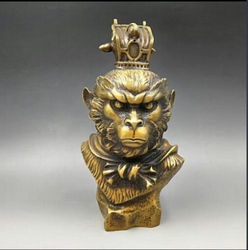 Chine Sculpté À La Main En Bronze Populaire Sun Wu Kong Singe Roi Buste Sculpture Statue