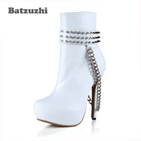 Batzuzhi Super Star Rock Women Boots 14cm High Heel Ankle Boots for Women White with Rivets Chains Platform Boots for Female
