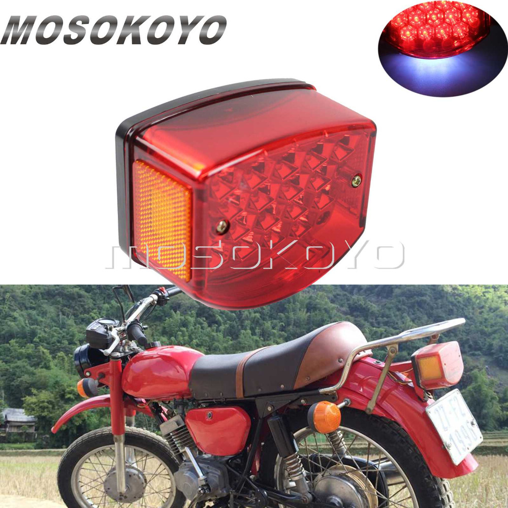 Red Motorcycle Taillights LED License Plate Light Tail Brake Stop Lamp For Minsk 125 Cc Carpathians 50cc