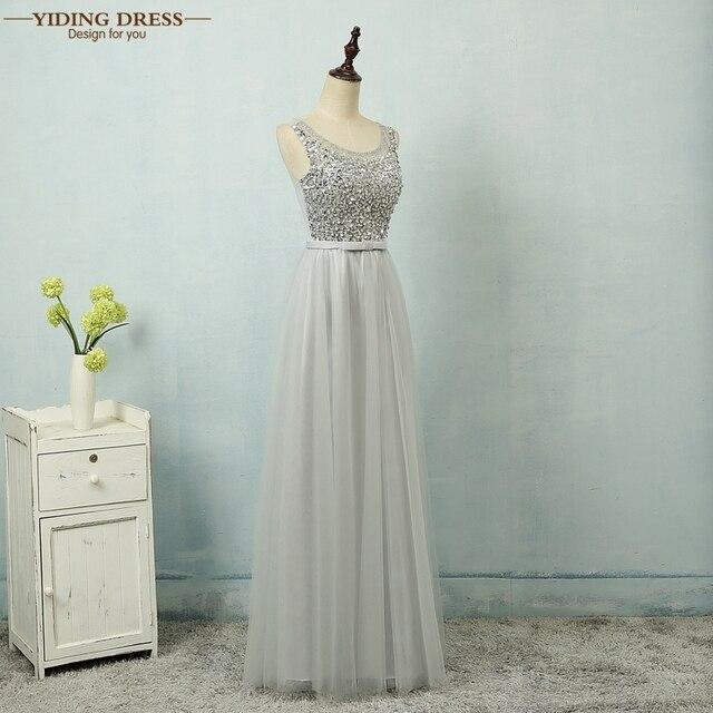 Серый sexy line тюль бисероплетение пром платья 2017 формальное длинное вечернее dress рукавов