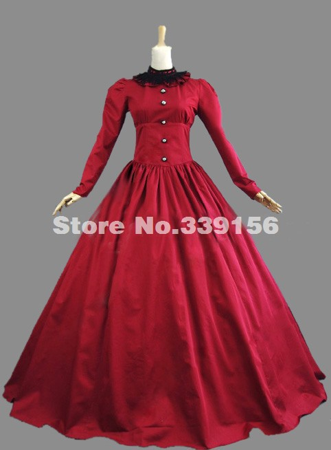 Hot Sale Red Victorian Gothic Lolita Dress Prom Ball Gown Reenactment Steampunk Clothing Costume