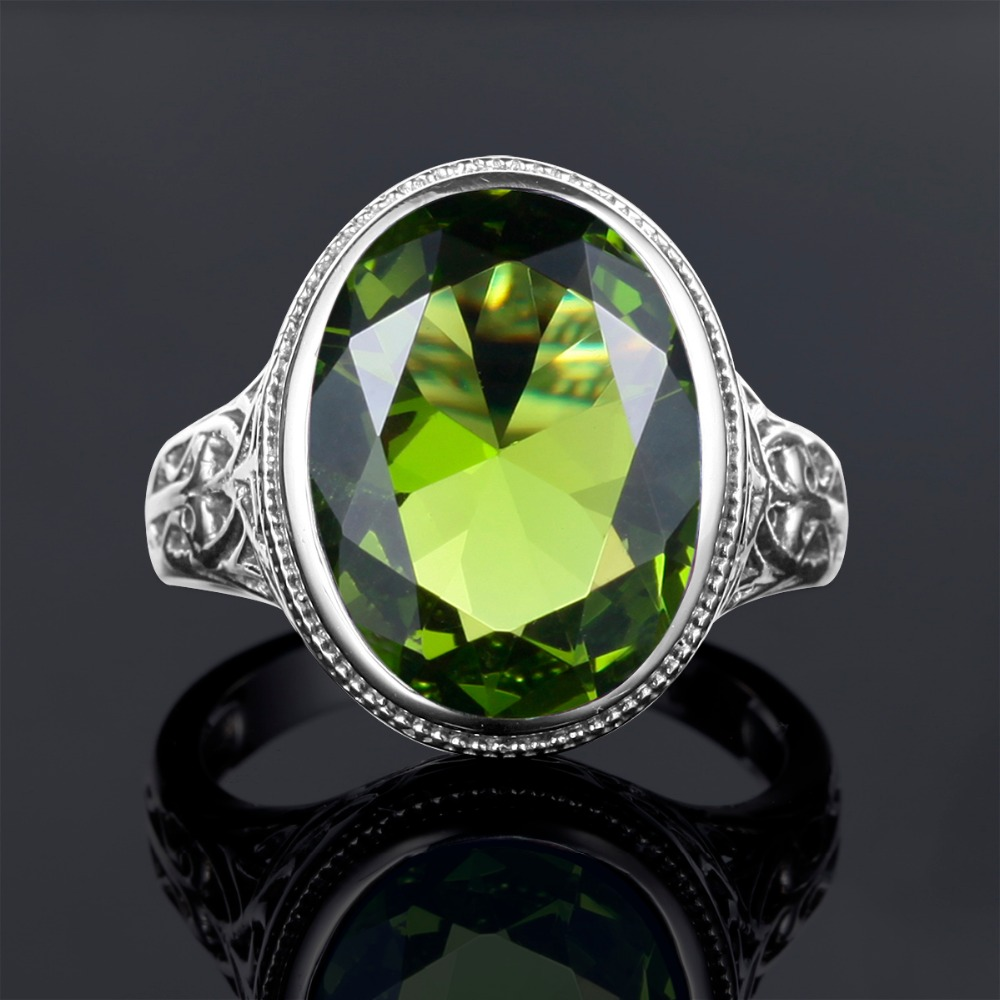 Vintage 925 Sterling Silver Women Cocktail Ring Hollowed Ethnic Punk Created Peridot Stone Engagement Couple Rings Party Jewelry vintage rhinestone hollowed wave ring for women