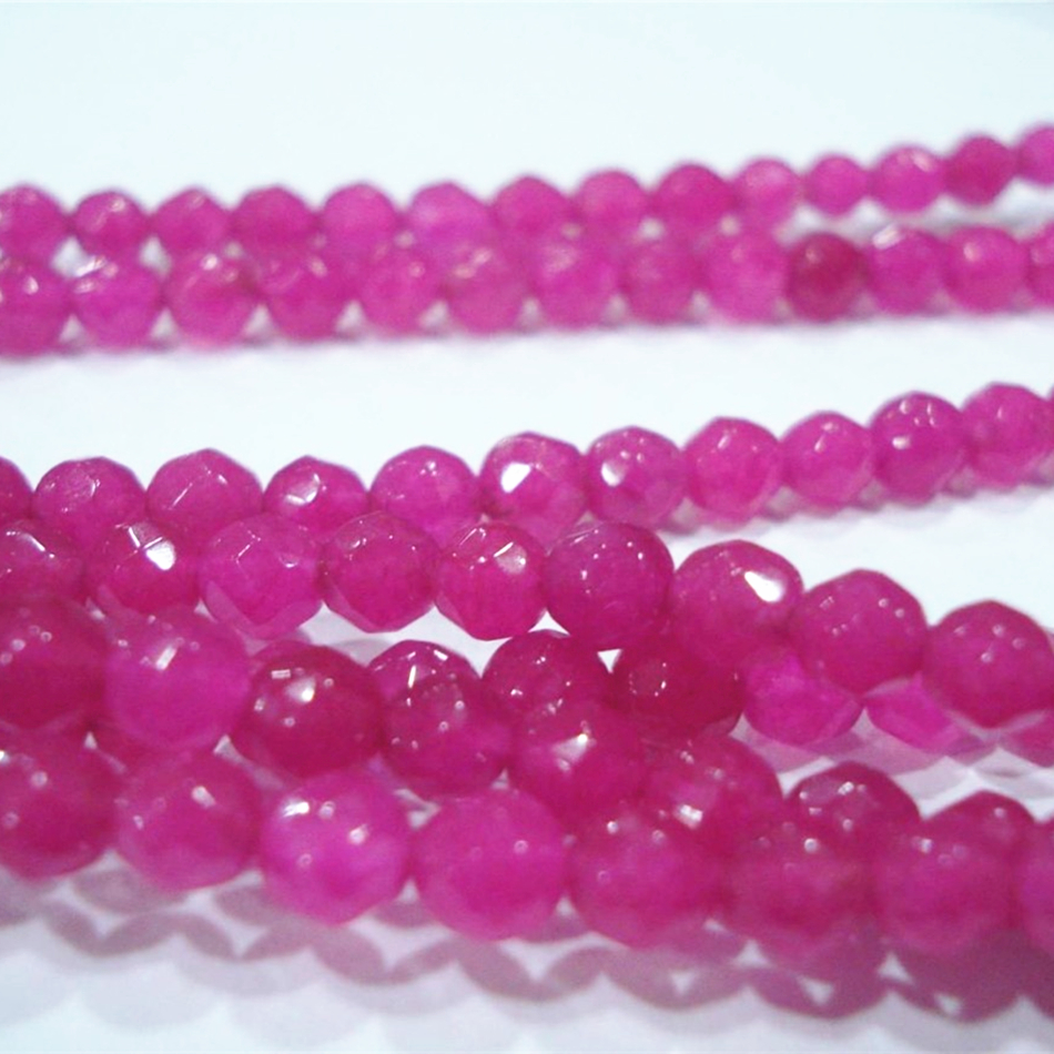 Beautiful 4mm 6mm Faceted Round Brazilian Red Stone chalcedony jades Loose Beads Fashion Women Gift Jewelry Making 15inch GE766