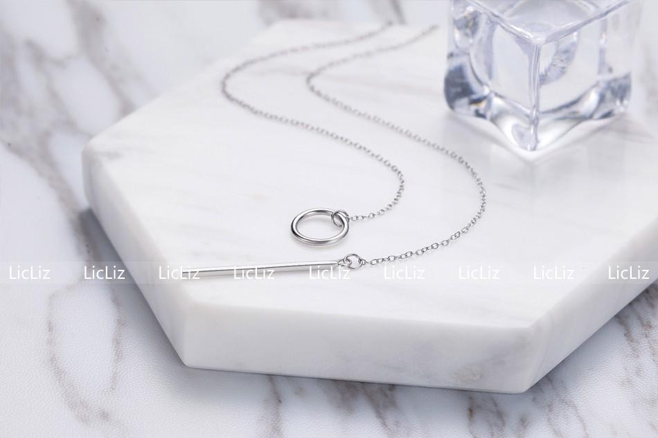 LicLiz Unique 925 Sterling Silver Circle Simple Strip Bar Pendant Necklaces Adjustable Chain Necklaces for Women Wedding LN0194 6