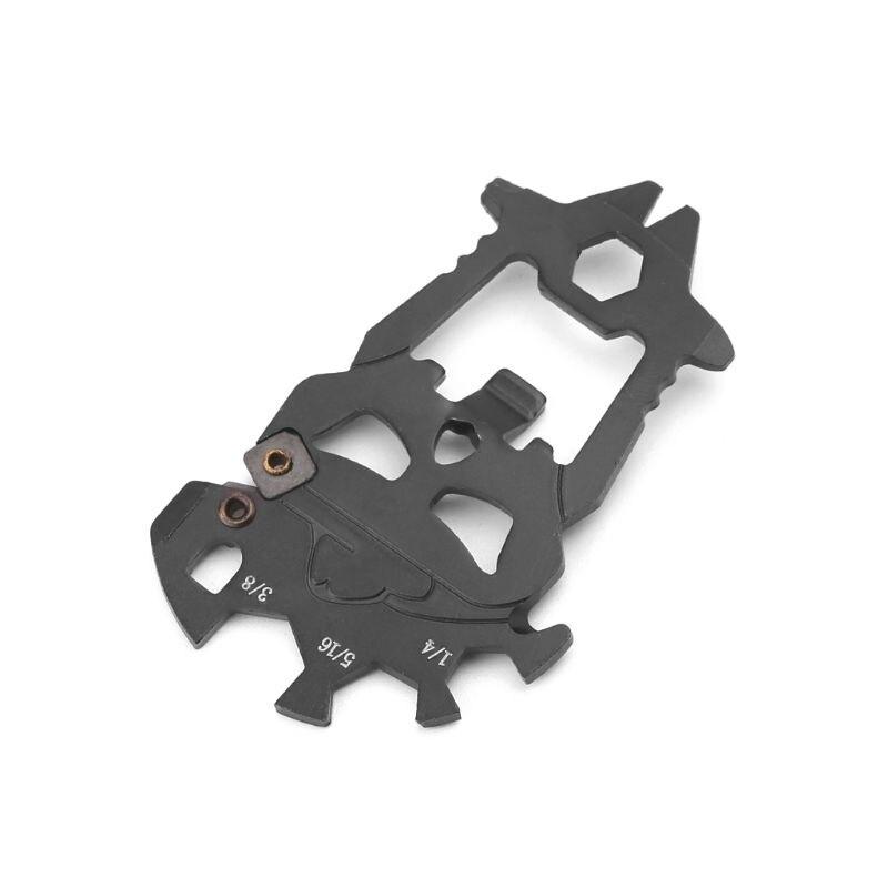 Stainless Steel Outdoor EDC Pocket Multi-tool Screwdriver Crowbar Skull Keychain Bottle Opener
