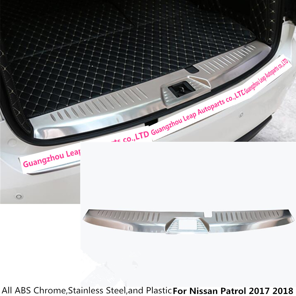 Top car body Stainless Steel Inner Rear trunk Bumper trim plate lamp frame threshold pedal 1pcs For Nissan Patrol 2017 2018 car styling stainless steel inner rear bumper protector sill trunk tread plate trim for hyundai santa fe ix45 2017