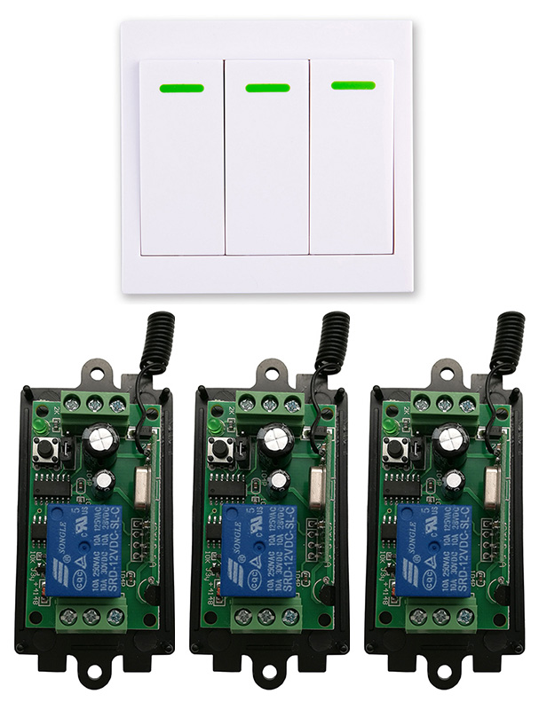 DC 9V 12V 24V 1 CH 1CH RF Wireless Remote Control Switch System Receiver+3CH 86 Wall Panel Transmitter,315433.92 MHZ  shutters