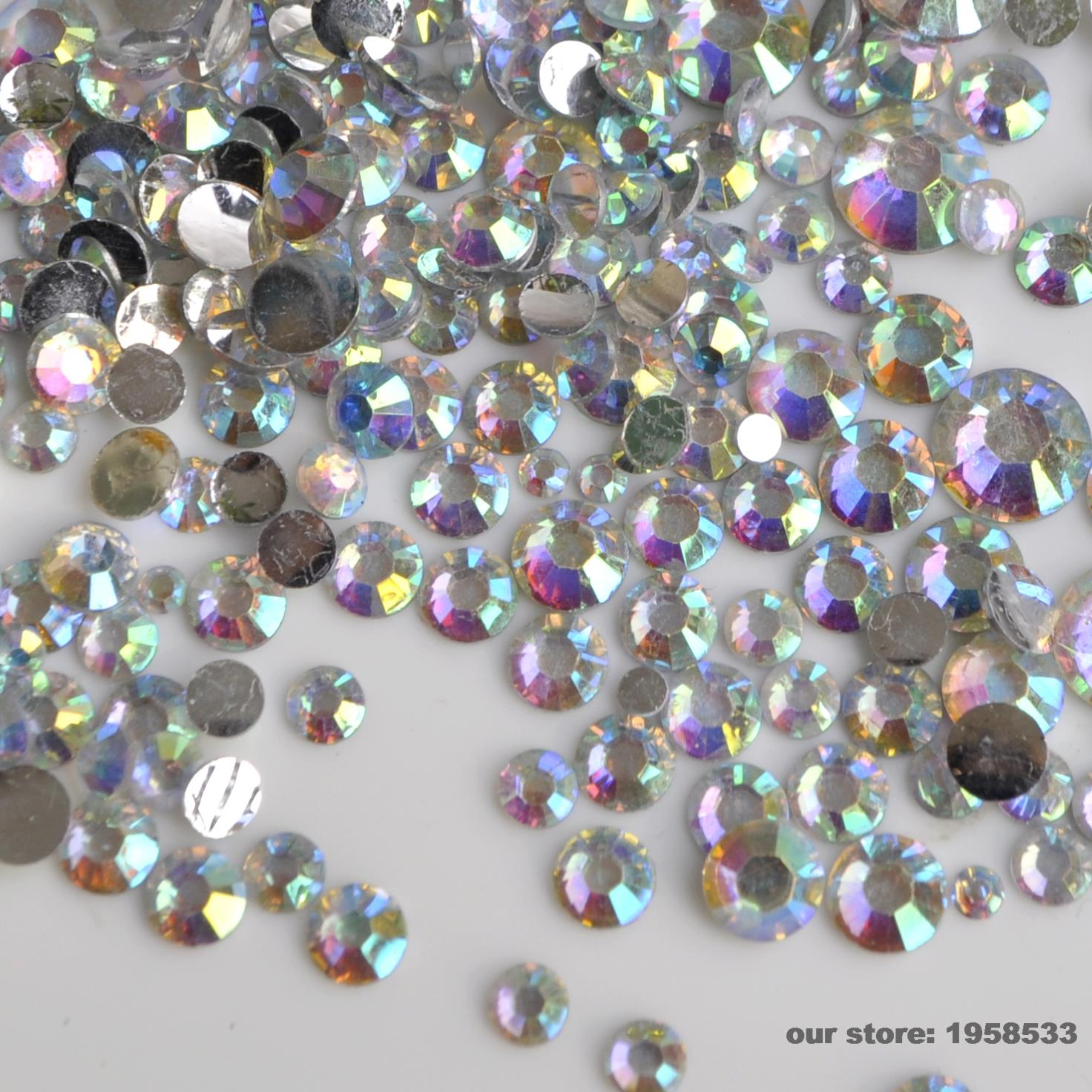 1000 pcs 2mm-6mm Mix Taille Clair AB Coloré Nail Strass 3D Nail Art Déco  Flatback Strass Glitter Gems besoin Colle N22 b3e034be9f8
