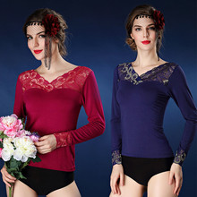 Modaier lady wear long sleeved lace Print Shirt autumn clothing thermal underwear thin coat manufacturers