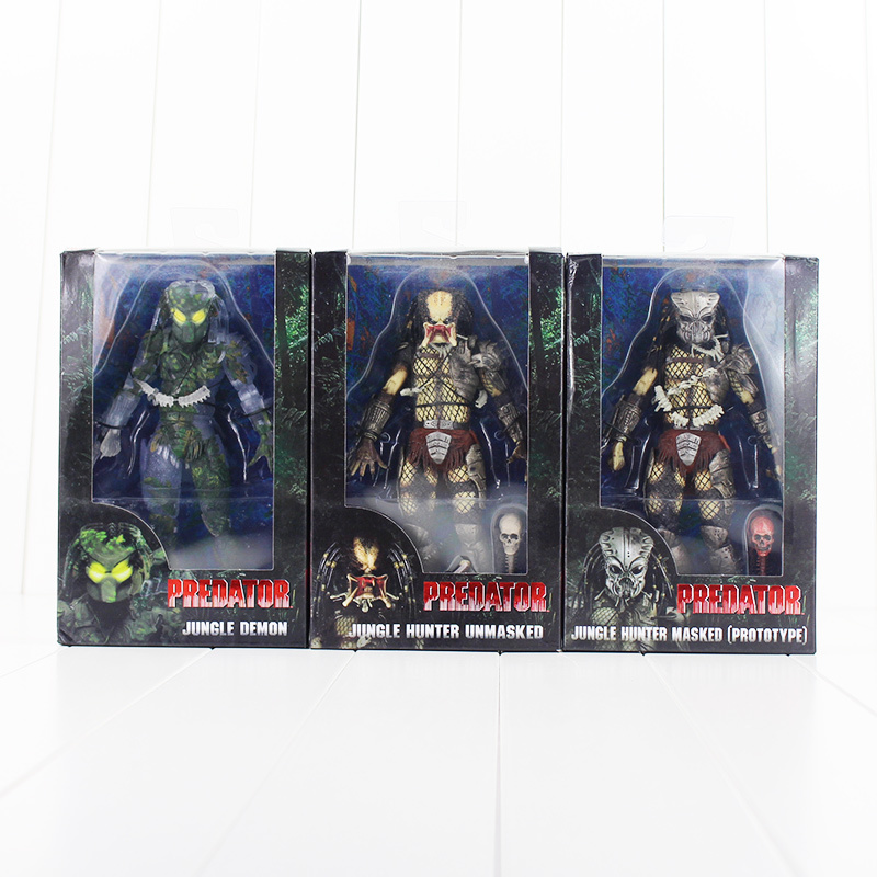 3 pz/lotto 20 cm NECA Predator Figure Model Toy Alien PVC Modello JUNGLE DEMONE JUNGLE HUNTER UNMASKED HUNTER MASCHERATO