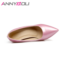 ANNYMOLI Women Shoes Thin High Heels Lady Wedding Shoes Women Elegant Shoes Pink 2018 New Large Size 33-46  Ladies Pumps Green