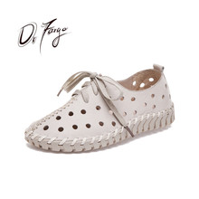 DRFARGO Summer Shoes Women Genuine Leather Loafers Hollow cutout Breathable Holes Soft Femme Chaussure Lace up Shoes 35-41 1605