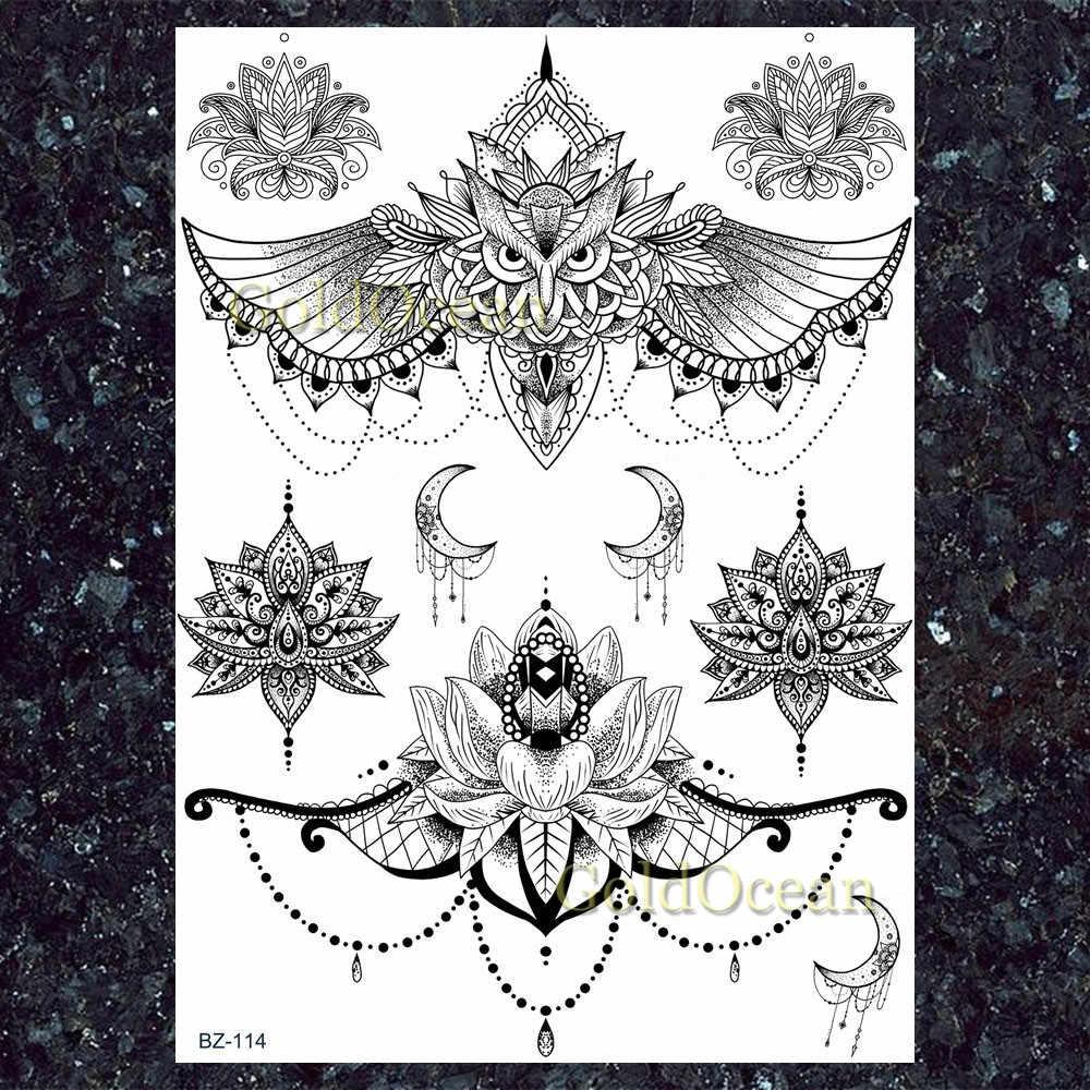 Chains Mandala Henna Flower Butterfly Black India Temporary Tattoos Stickers Women Girls Arm Tatto Wrist Totem Waterproof Tattoo