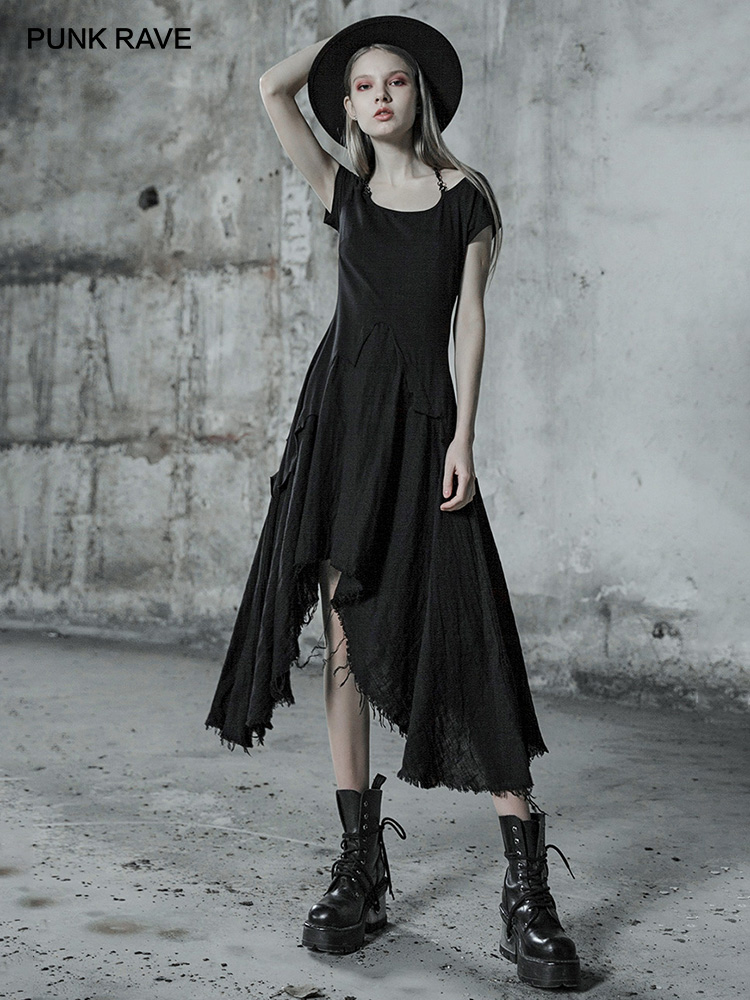 PUNK RAVE Women s Black Lace Spliced Gothic Short Sleeves Black Dress Off Shoulder Party Fashion