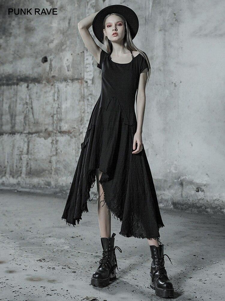 PUNK RAVE femmes noir dentelle épissé gothique manches courtes robe noire épaule dénudée fête mode irrégulière jeunes filles robe