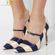Azul Marino Beige rayas 3 pulgadas tacones Stiletto bombas de tacón zapatos  de mujer vestido hebilla de la correa del dedo del p. be604280d958