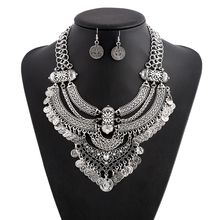 Li&Fang Gem Luxury Bib Bohemian Statement Coin Power Long Maxi Tassel  Sliver Gold Color Necklace Jewelry Sets Women Fashion