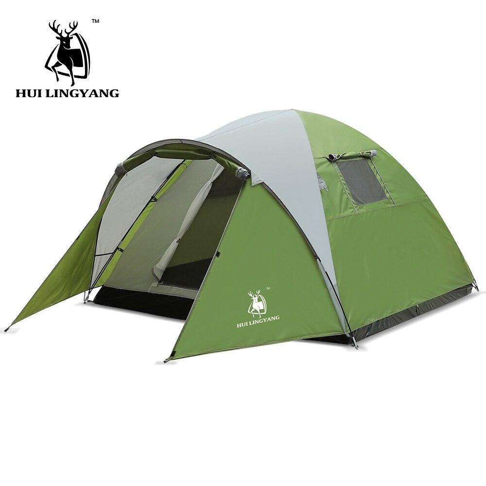 Палатка Сверхлегкий большие пространства Двойной Слои 3-4 человек палатки Водонепроницаемый 4 сезон Открытый Семья Кемпинг 210x210x130 см