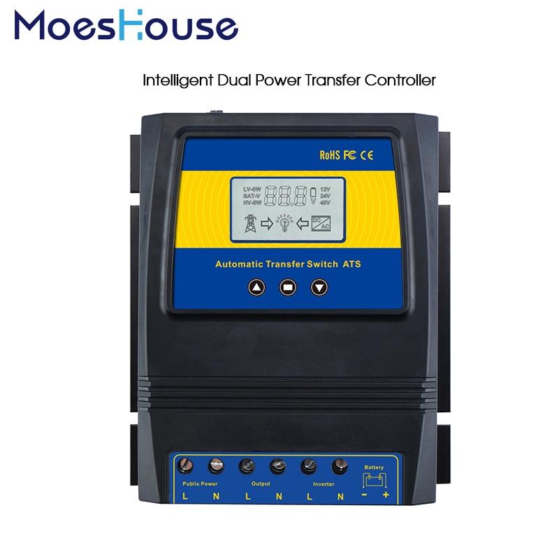 Automatique ATS double commutateur de transfert de puissance contrôleur de Charge solaire pour système de vent solaire DC 12V 24V 48V AC 110V 220V grille marche/arrêt