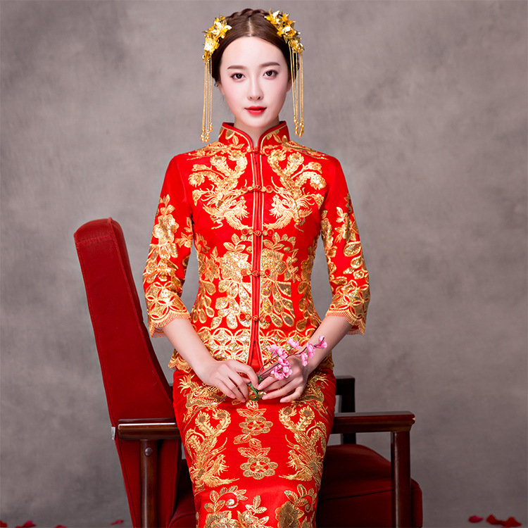 dragon phoenix cheongsam dress women red lace long qipao. Black Bedroom Furniture Sets. Home Design Ideas