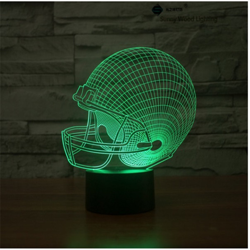 Футбол Cap сенсорный выключатель LED 3D, визуальную иллюзию 7 видов цветов Изменение 5 В USB для ноутбука, рождество мультфильм игрушки лампы